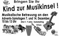 Musikinsel - unsere musikalische Betreuung für Kids an Advents-Samstagen
