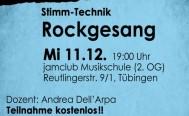 Abendseminar für Sängerinnen und Sänger am 11. Dezember: Rockgesang