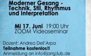 Abendseminar Moderner Gesang: ZOOM Seminar am Mittwoch 17. Juni 19 Uhr