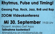 Abendseminar RHYTHMUS PULSE TIMING am Mittwoch 30. September